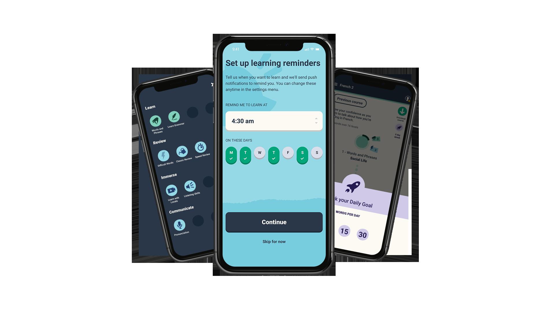 memrise language app screenshot daily goals learning reminders