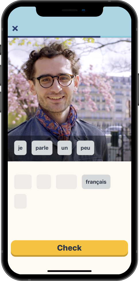 Gamified tests that train your language skills